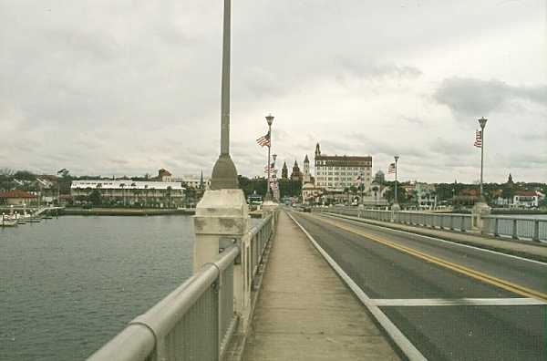 crossing the Bridge of Lions into St. Augustine from Anastasia Island