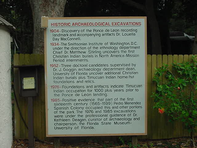 Archaeological excavations Fountain of Youth St. Augustine Florida
