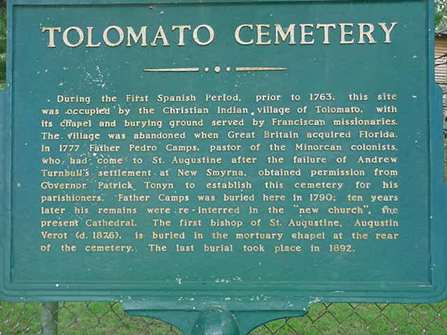 sign with some history of the Tolomato Cemetery St Augustine Florida