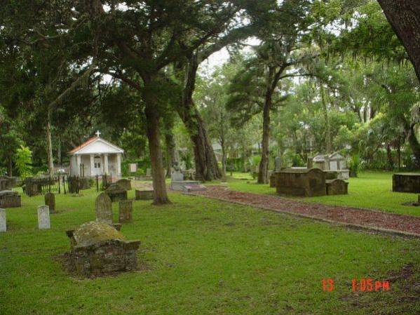 View inside the reportedly haunted Tolomato Cemetery St Augustine Florida